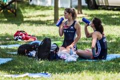 Спортсмены Великобритании на отдыхать конкуренции чашки мира гребя Стоковые Фотографии RF