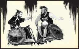 Спортсмены с инвалидностями - РЭГБИ иллюстрация вектора