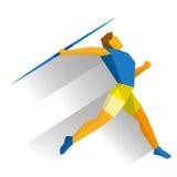 Спортсмен бросая javelin на белой предпосылке Стоковое Изображение