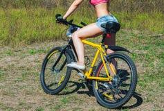 Спортсмен девушки в джинсах, коротких шортах ехать велосипед Стоковое Изображение RF