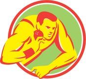 Спортсмен легкой атлетики толкания ядра ретро Стоковая Фотография RF