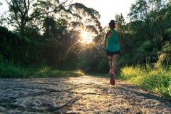 Спортсмен женщины бежать на следе леса Стоковая Фотография