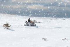 Спортсмен на снегоходе двигая в лес зимы в горах стоковая фотография rf