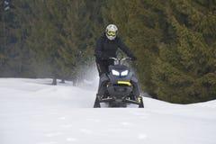 Спортсмен на снегоходе двигая в лес зимы в горах стоковые изображения
