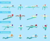 Спортсмен пловца вектора заплывания плавает в купальнике и swimmingcap в ползании различных стилей плавательного бассеина передне иллюстрация вектора
