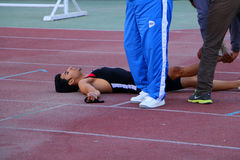 Спортсмен после гонки стоковое фото rf