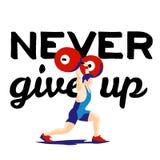 Спортсмен поднятия тяжестей и мотивационный лозунг дайте никогда вверх Стоковые Изображения RF