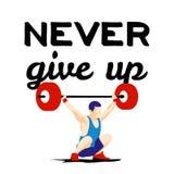 Спортсмен поднятия тяжестей и мотивационный лозунг Стоковые Фотографии RF
