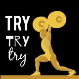 Спортсмен поднятия тяжестей и мотивационный лозунг Стоковые Изображения