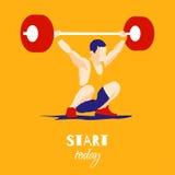 Спортсмен поднятия тяжестей и мотивационный лозунг Стоковое фото RF