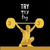 Спортсмен поднятия тяжестей и мотивационный лозунг Стоковые Фото