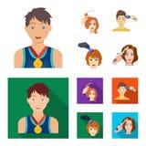 Спортсмен с медалью, стрижкой с электрической машинкой и другим значком сети в шарже, плоском стиле Стрижка женщин бесплатная иллюстрация