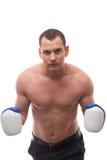 Спортсмен с перчатками бокса на белой предпосылке Стоковое фото RF