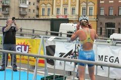 Спортсмен триатлона Стоковые Фотографии RF