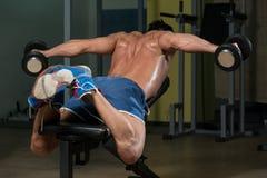 Спортсмен фитнеса делая тяжеловесную тренировку для задней части Стоковая Фотография RF
