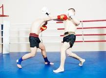 Спортсмен Muay тайский воюя на боксерском ринге Стоковые Фото