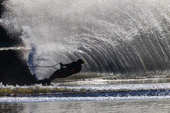Спорты контраста черноты девушки катания на водных лыжах белые Стоковое фото RF