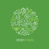 Спорт вектора линейные и логотип фитнеса Стоковое Изображение