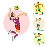 Спорт здоровья и женщины деятельности при спортивного человека характеров людей здоровья иллюстрация вектора плоской атлетическая Стоковое фото RF