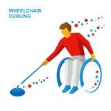 Спорт зимы - завивать кресло-коляскы Curler с инвалидностью Стоковые Изображения