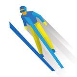 Спорт зимы: прыжки с трамплина Лыжник шаржа во время скачки Стоковые Фото
