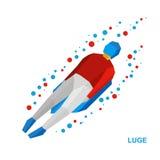 Спорт зимы: санный спорт (sledging) Sledding спортсмена шаржа Стоковое Изображение