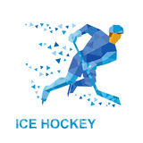 Спорт зимы: хоккей на льде Игрок с ездами ручки на коньках Стоковые Фото