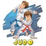 Спорт дзюдо вектора шаржа с отделенными слоями для игры и анимации Стоковое Фото