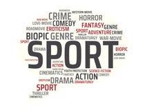 СПОРТ - изображение при слова связанные с КИНО темы, слово, изображение, иллюстрация стоковое изображение rf