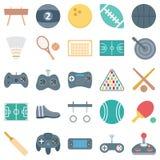Спорт и изолированные игрой значки вектора состоят шарик, gamepad, psp, теннис и еще многие, специальное использование для проект иллюстрация штока