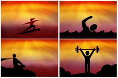 Спорт, йога, значки сети силуэта фитнеса Стоковая Фотография RF