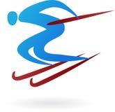 спорт лыжи логоса иллюстрация вектора