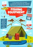 Спорт рыбной ловли, снасть рыболова и оборудование иллюстрация вектора