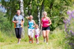 Спорт семьи jogging через поле Стоковое Фото