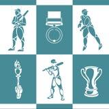 спорт силуэта иконы культуриста Стоковое фото RF