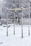 Спорт смолотые в парке покрытом со снегом стоковые фото