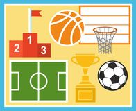 Спорт, физкультура, футбол, баскетбол, чашка, приз, иллюстрация Иллюстрация штока