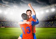 спорт футбола игроков персонажей из мультфильма Стоковые Изображения