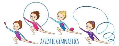 Спорт для детей художническая гимнастика Стоковые Изображения