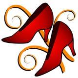 Способ - красные ботинки высокой пятки Стоковое фото RF