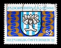 Справедливый герб, справедливое serie Dornbirn, около 1973 стоковые изображения rf