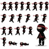 Спрайты характера Ninja для игр, анимации иллюстрация штока