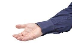 Спрашивать дающ изолированного бизнесмена руки Стоковое Изображение