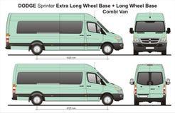 Спринтер дополнительное LWB и LWB Combi Van 2010 доджа Стоковые Изображения RF