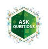 Спросите вопросам флористическую кнопку шестиугольника зеленого цвета картины заводов иллюстрация вектора