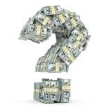 Спросите знак от пакетов доллара на белизне Где к I Стоковое Изображение