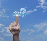 Спросите специалисту с звездой и значком знака вопросительного знака Стоковое Изображение