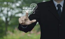 Спросите специалисту с звездой и значком знака вопросительного знака Стоковая Фотография