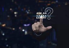 Спросите специалисту с звездой и значком знака вопросительного знака Стоковые Изображения RF