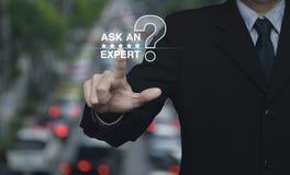 Спросите специалисту с звездой и значком знака вопросительного знака Стоковое Фото